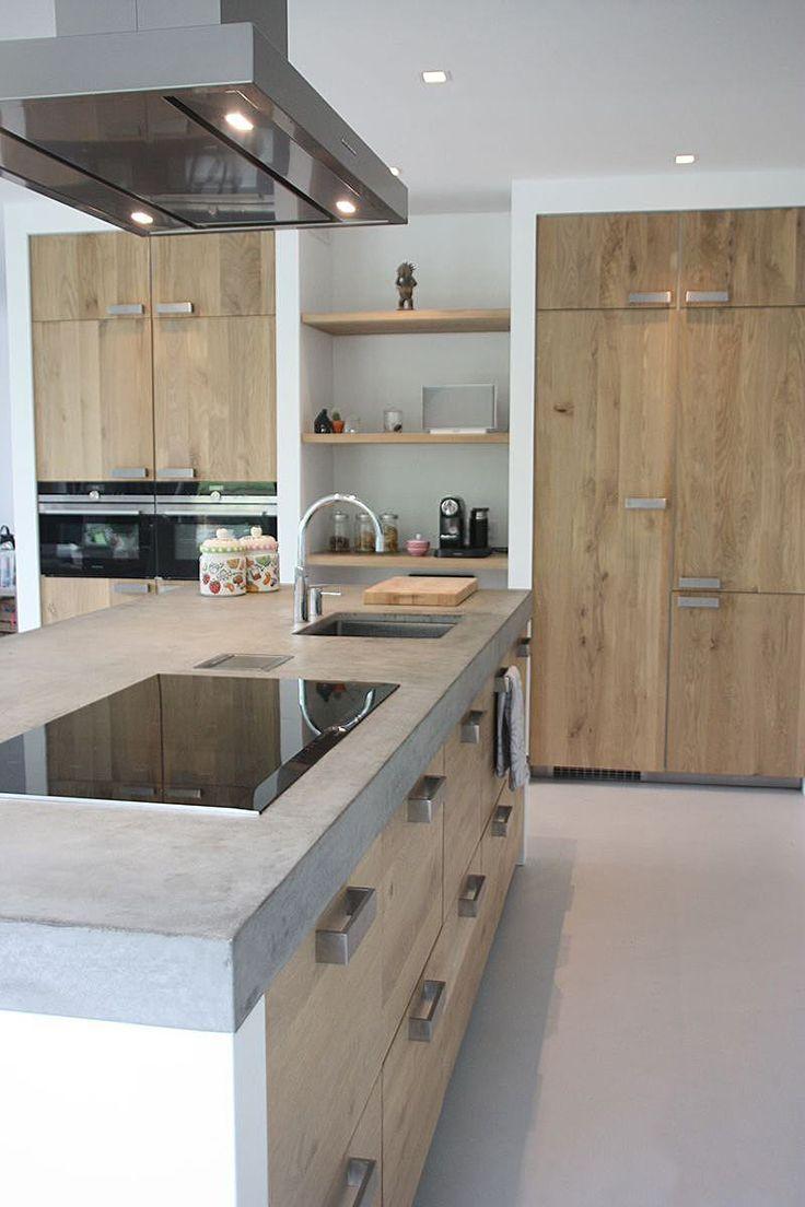 Progetto Cucina In Muratura Moderna Isola Centrale Con Top In Cemento E Sporte Progetti Di Cucine Cucina In Muratura Progettazione Di Una Cucina Moderna