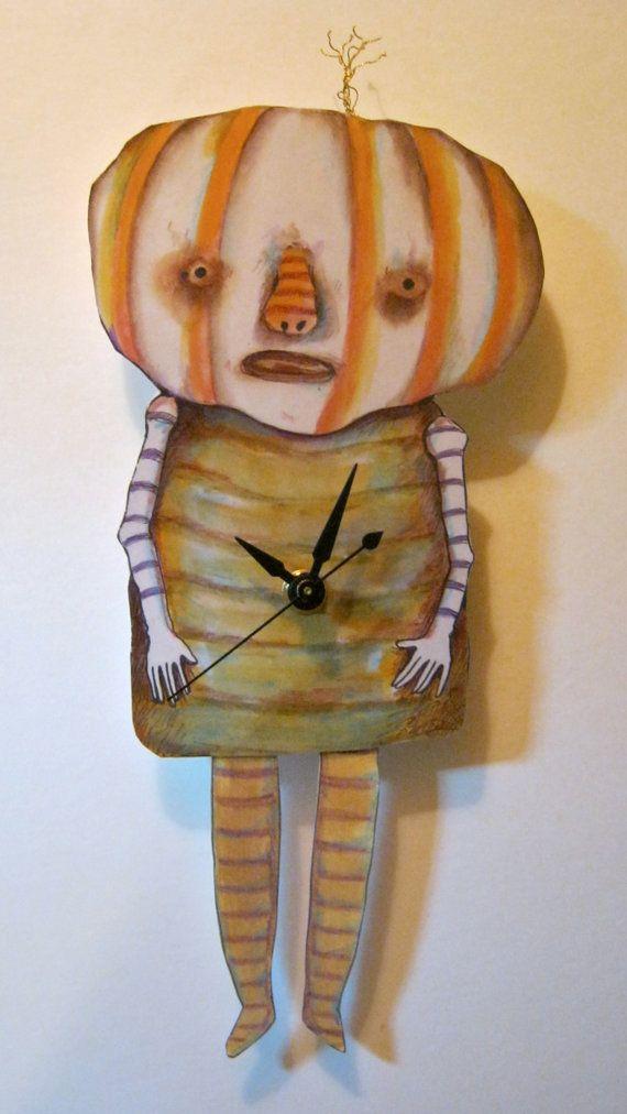 Halloween clock wall art, Weird Pumpkin, Gourd head art, Odd art ...