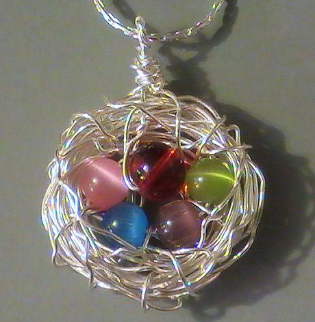 Wire neckless bird nest birds nest pendant necklace for birds nest pendant necklace for mothers sassylu aloadofball Choice Image
