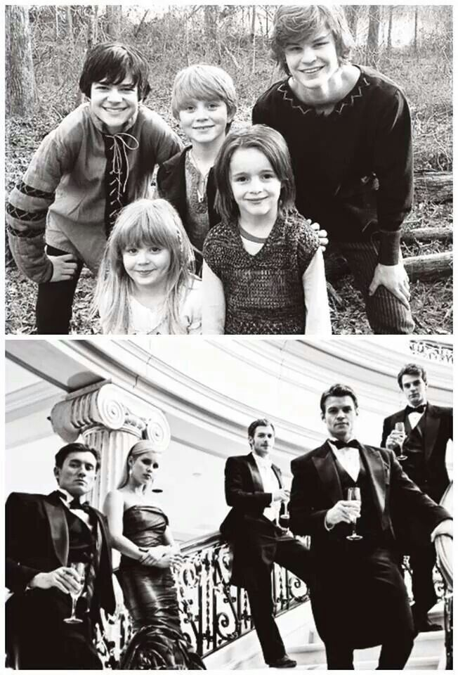 From left to right top: Elijah, Rebekah, Niklaus, Kol and Finn Mikaelson