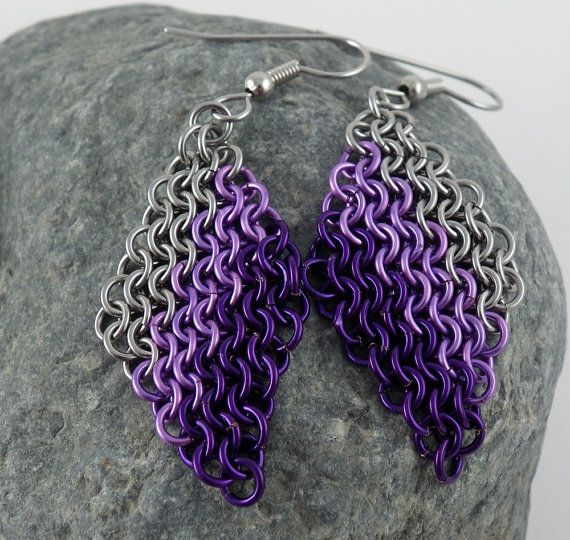 Chainmail Earrings  Purple Haze Chainmaille by CreationsbyUli, $20.00