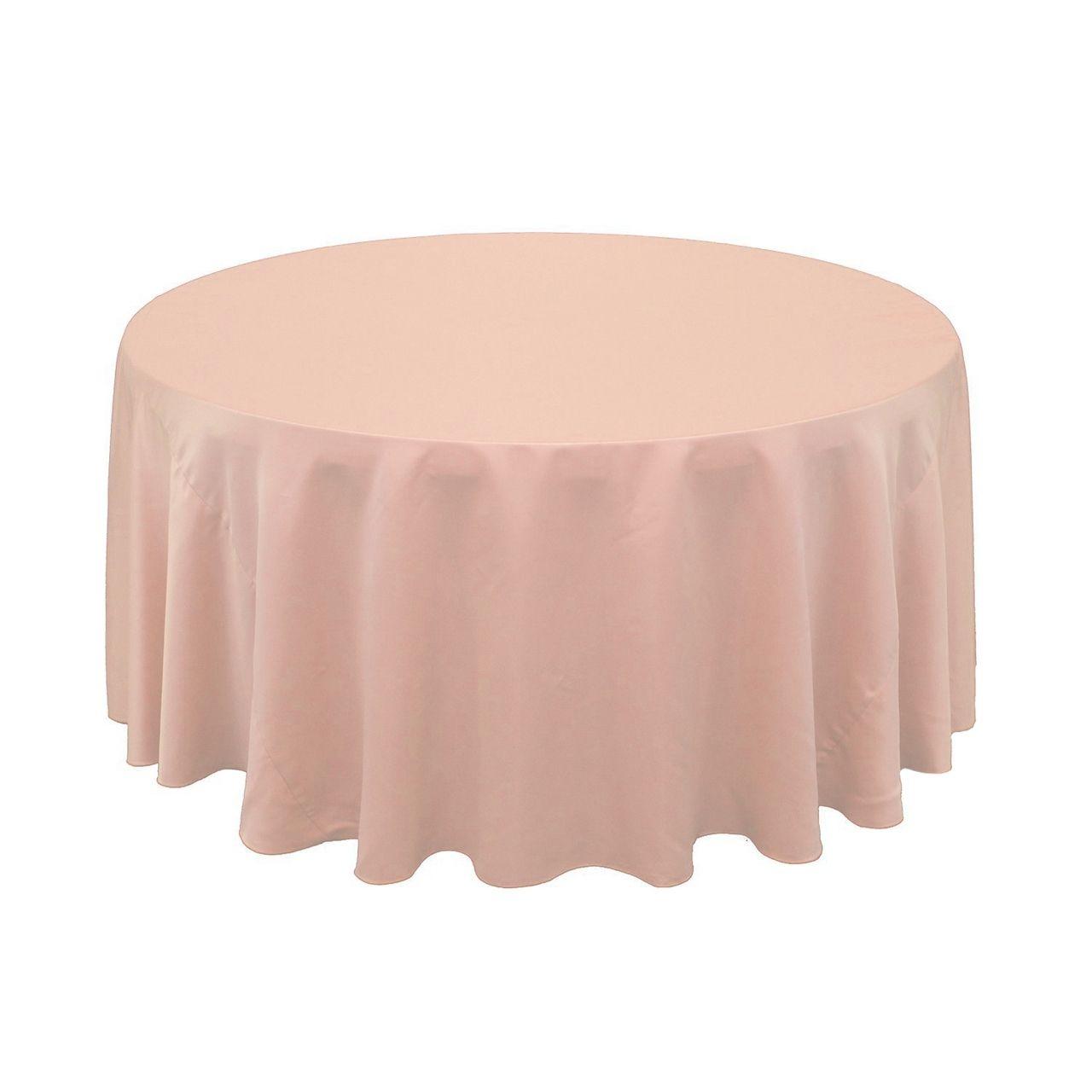 Bridal Tablecloths   120 Inch Lu0027amour Round Tablecloth Blush