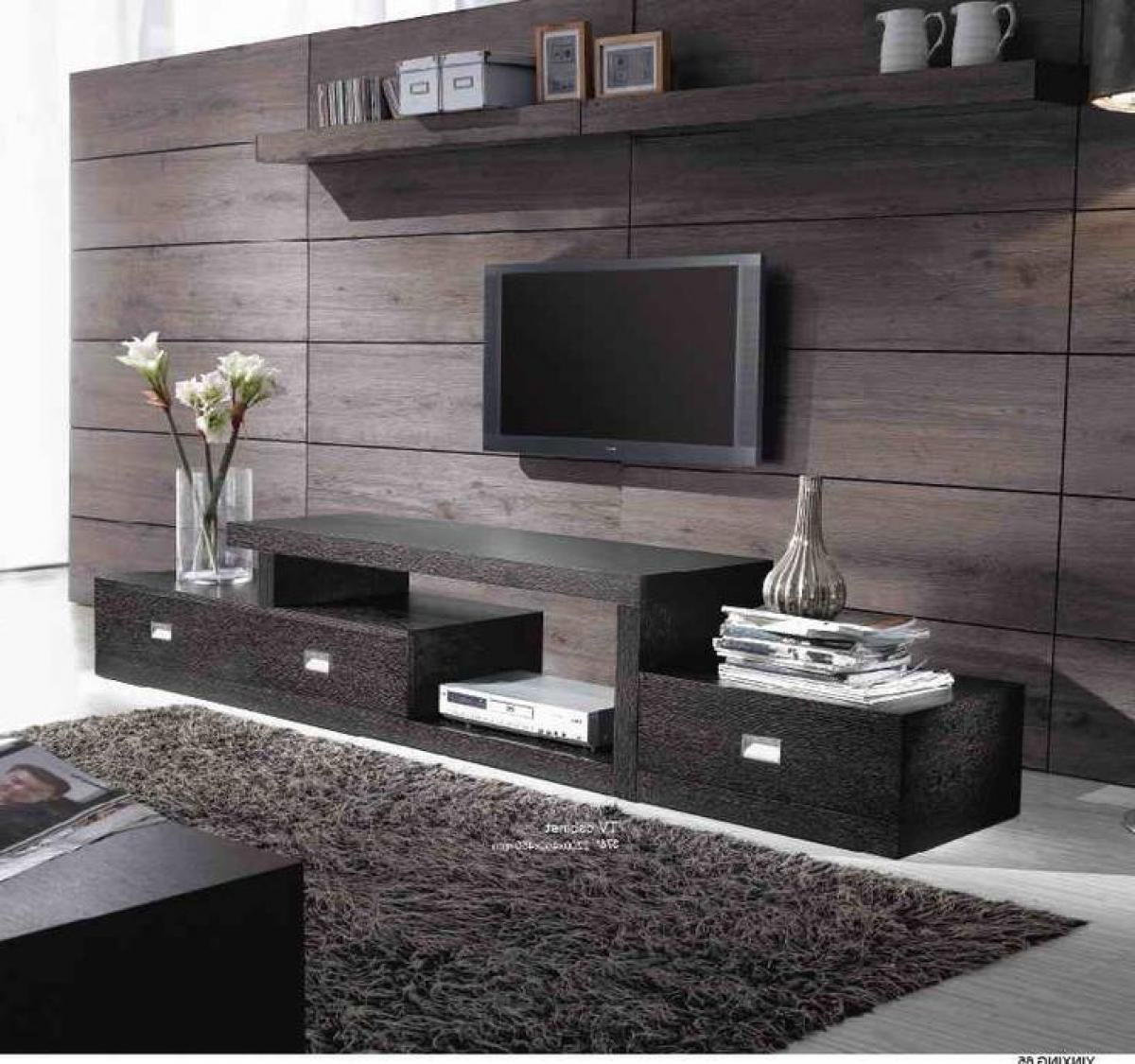 Black Elegance Interior Entertainment Home Design With Good Design Wooden Wall Panels Design
