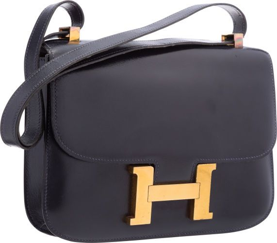 277ff588013c Hermes 23cm Blue Marine Calf Box Leather Single Gusset Constance Bag with  Gold Hardware.
