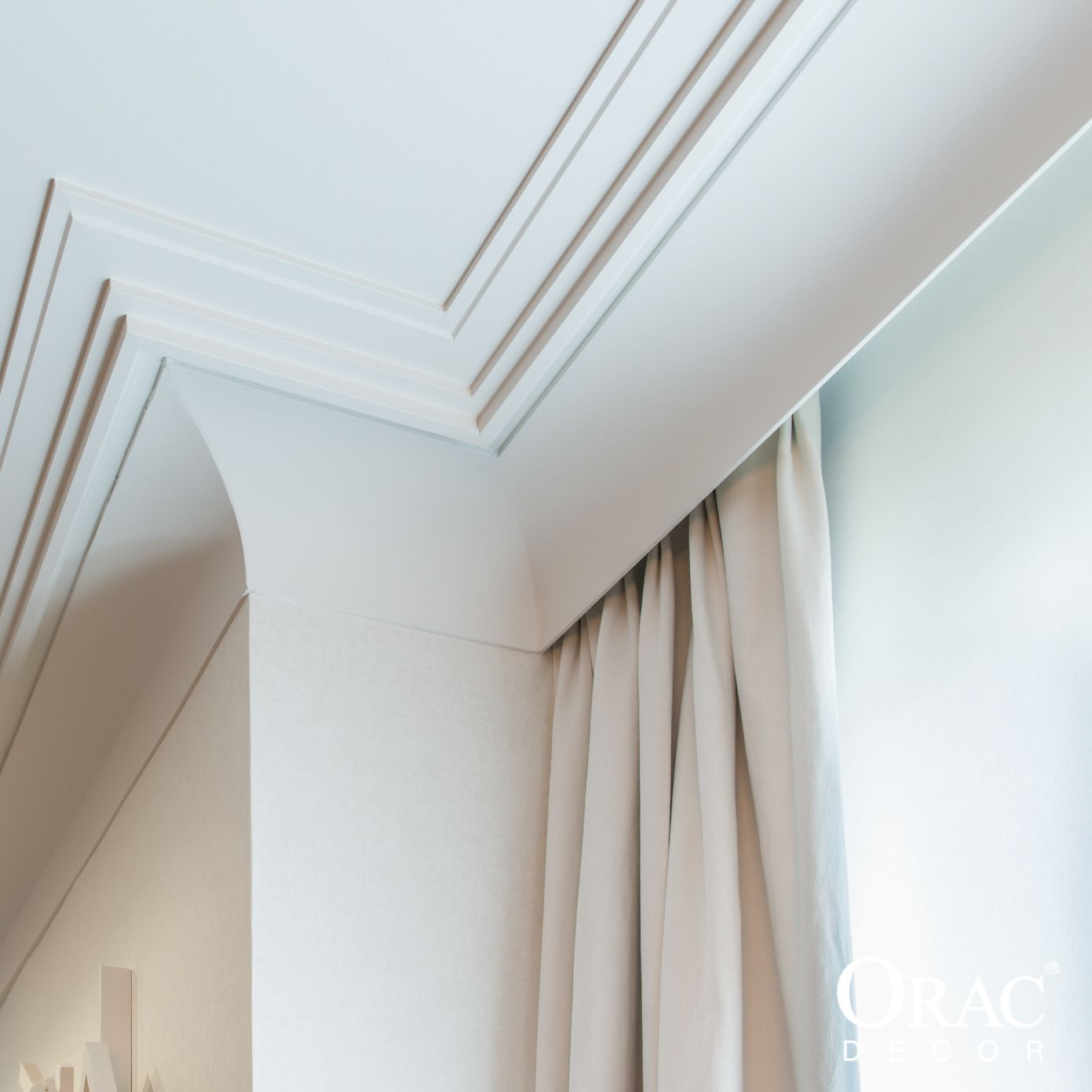 Interiors of ceiling curtains, curtains in the hall on the ceiling cornice