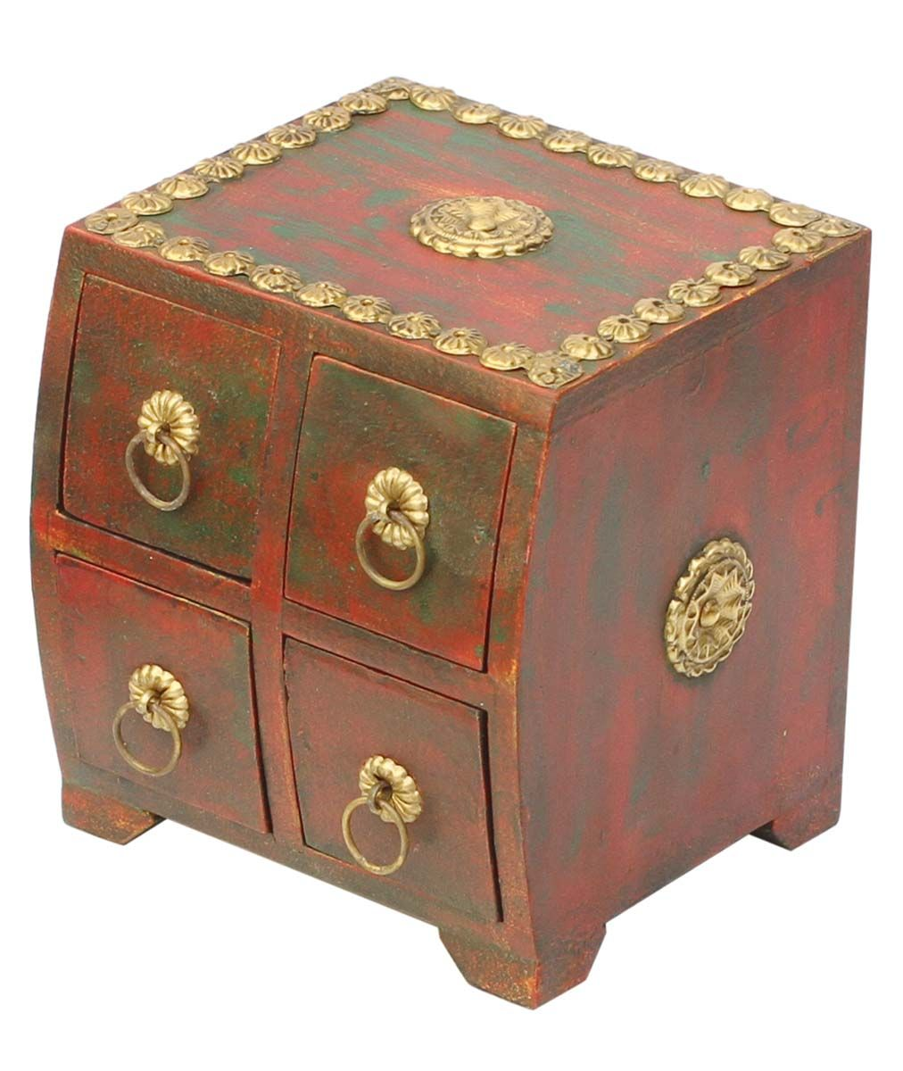 Bulk Wholesale Handmade 5 5 Wooden Rustic Maroon Jewelry Box With 4 Chest Drawers Decorated With Brass Handle Brass Handles Handmade Jewelry Box Trinket Boxes