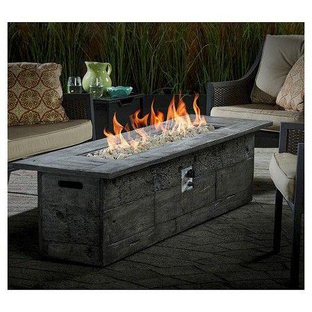 Bungalow 72 Long Gas Fire Table Rectangle Bond Dark Grey