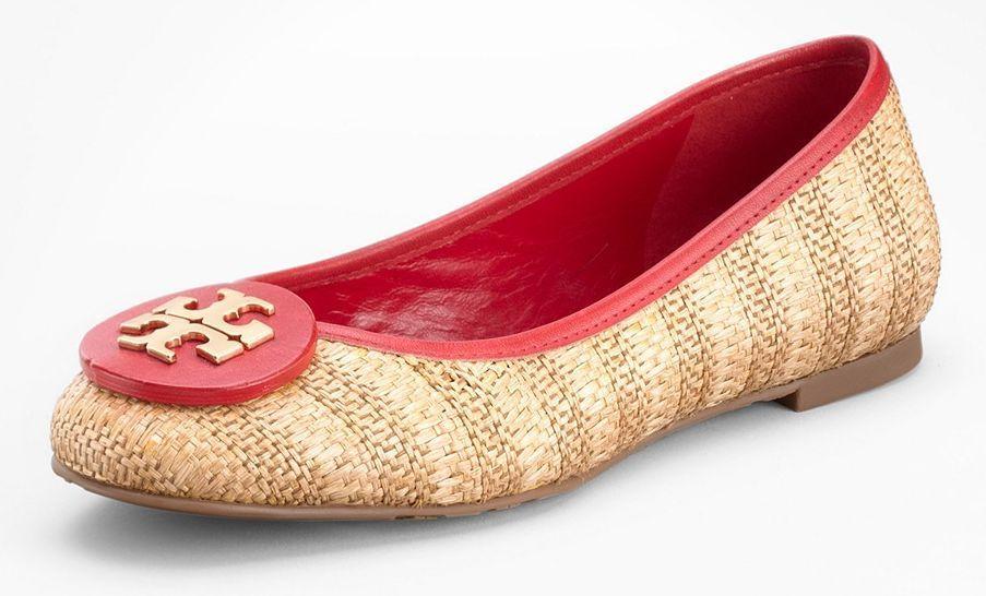 Tory rosso Burch Reva Sz 8.5 Raffia Straw rosso Tory Pelle oro Logo Flat scarpe   816a11