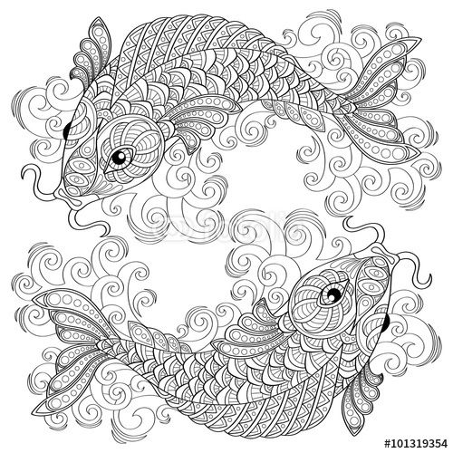 Koi Fish Chinese Carps Adult Antistress Coloring Page Black And