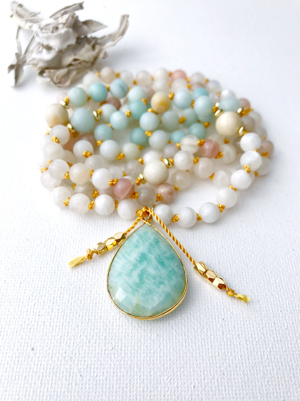 Moonstone Mala Necklace Mala Beads Mala Necklace Moonstone Mala