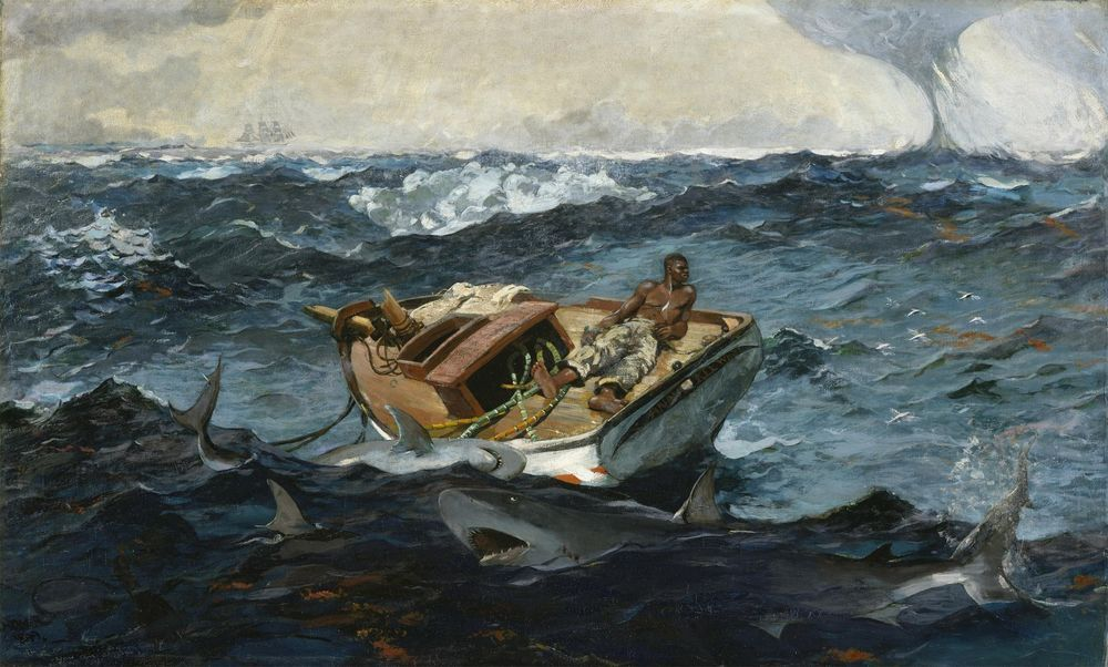 "1899- Winslow Homer, antique, Gulf, Fishing Boat, Sharks, 20""x14"" ART CANVAS"