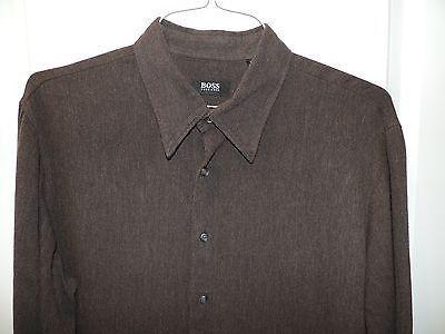 Hugo Boss Designer 100% Cotton Black Label Solid Dark Brown Shirt SZ XL Mint (Pre-Owned)