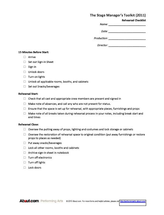 Printable Sign-in Sheets and Checklists for Stage Managers