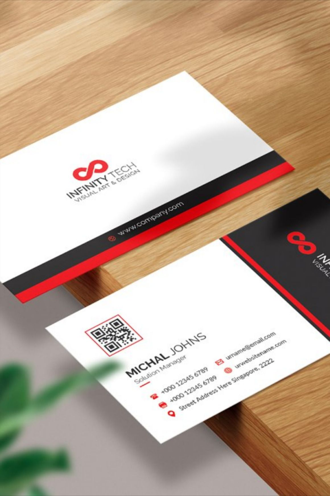 Business Card With Red Details Business Card Template Business Cards Cards