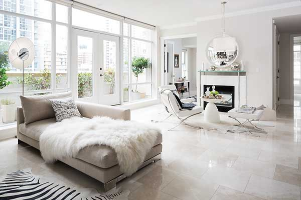 Modern Living room with stunning italian marble flooring Decor