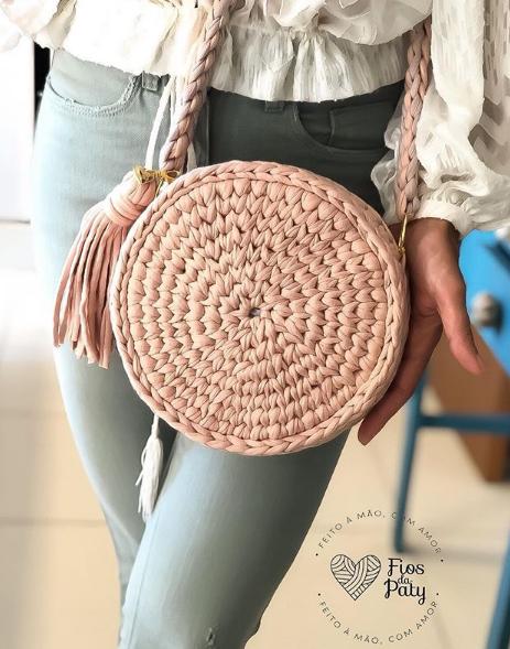 Bolsa de fio de malha redonda