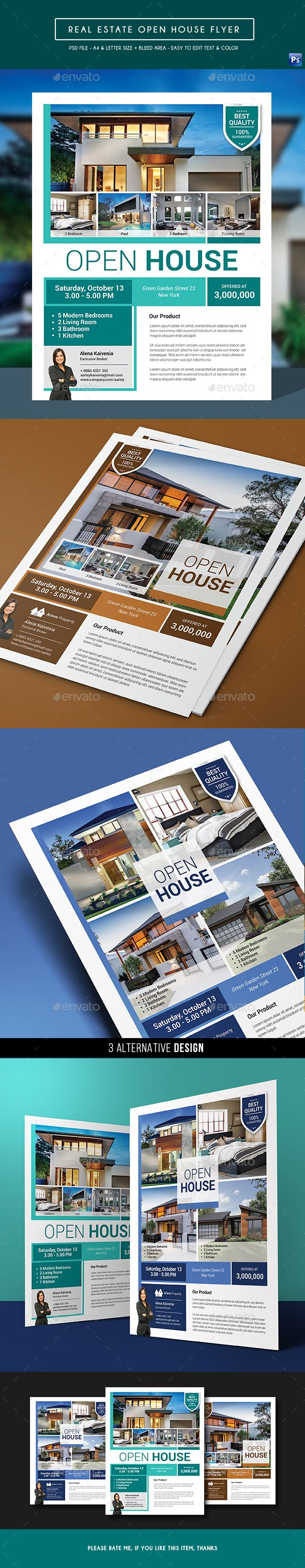 Real Estate  Open House Flyer  Open House Real Estate And Edit Text