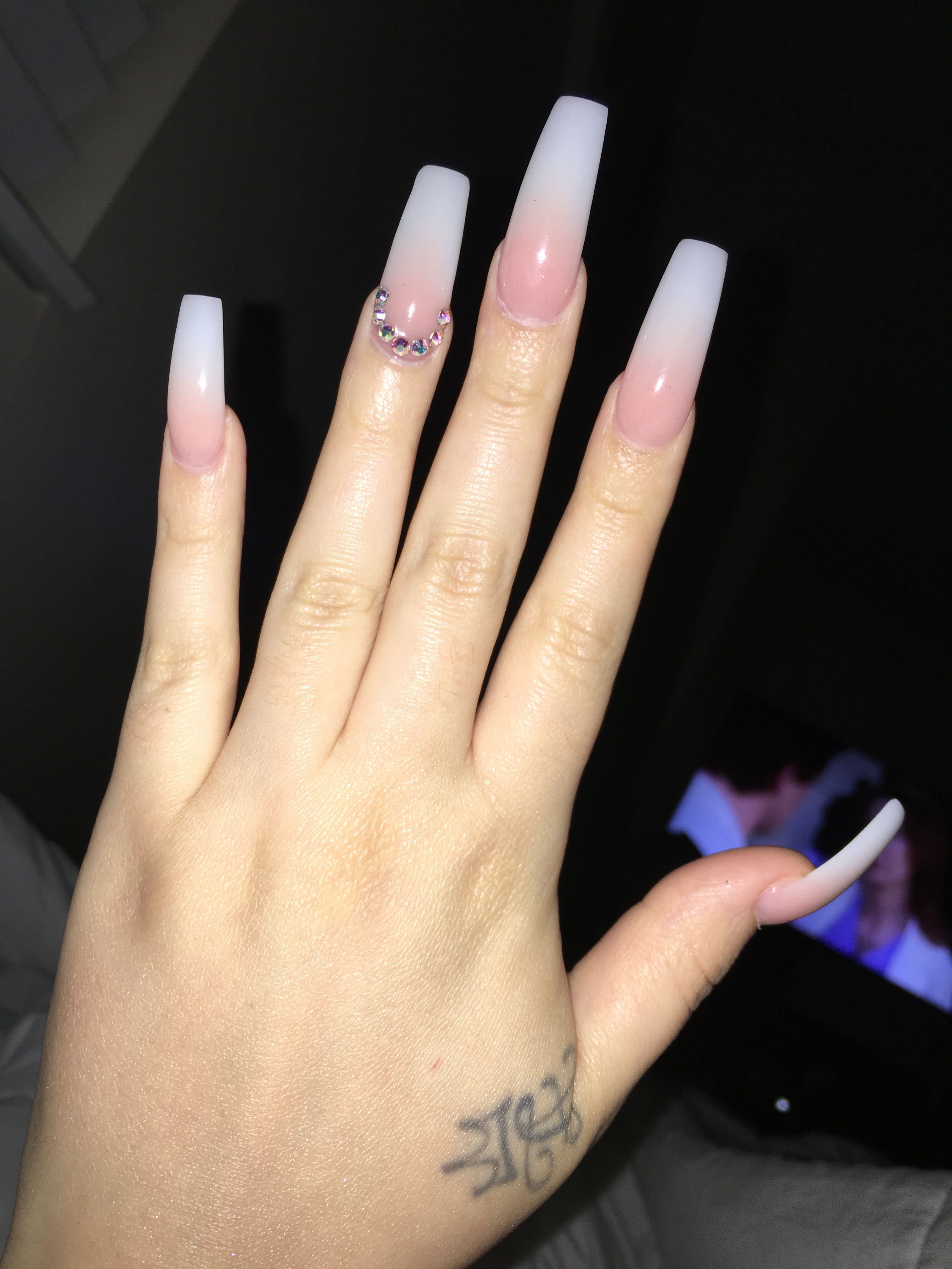 Ombre Nails With Rhinestones Ombre Acrylic Nails Long Square