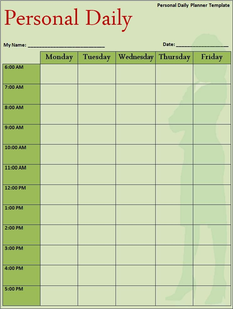 Daily Planner Template  My Work    Planner Template