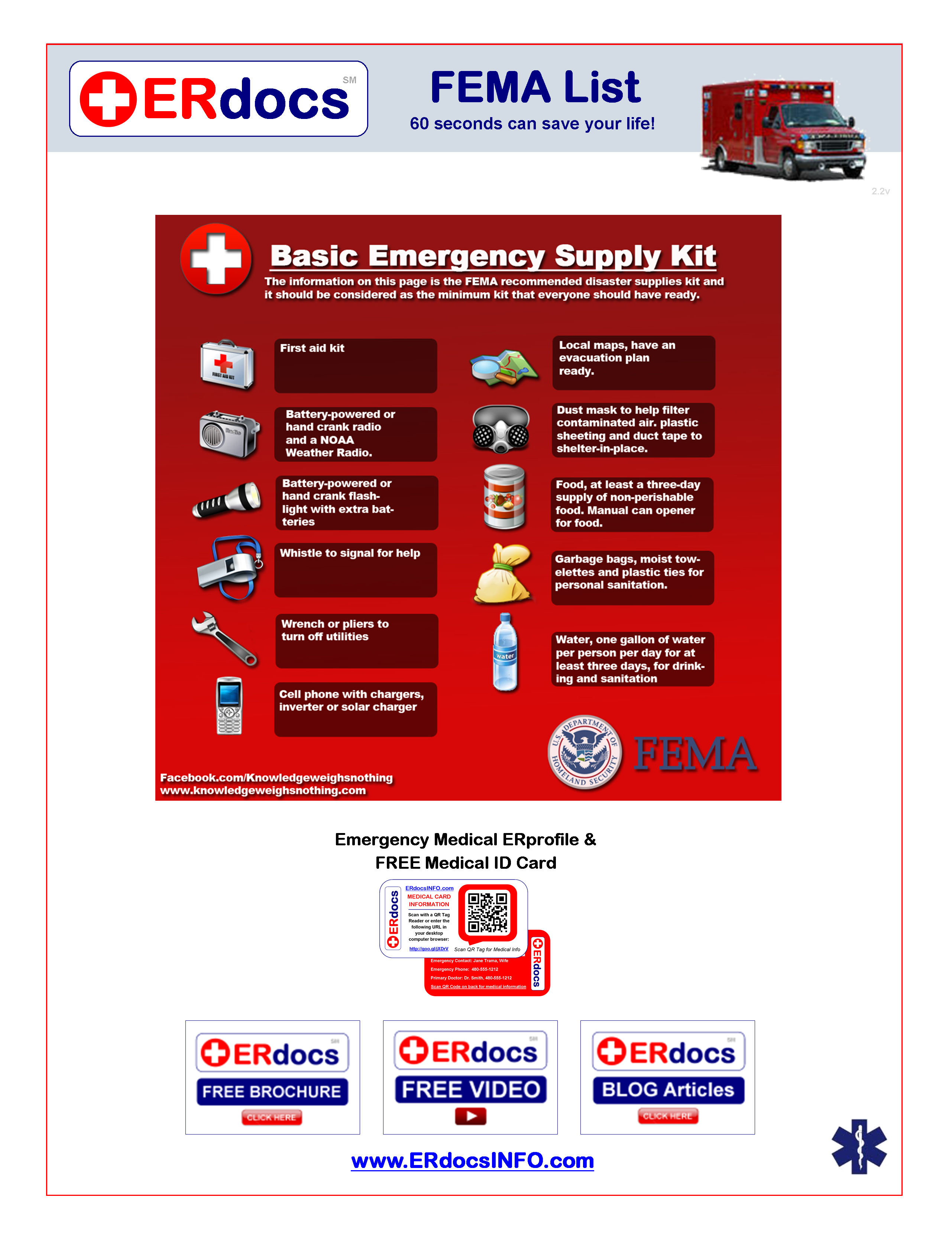 Fema Home Safety Checklist Emergency Medical Erprofile Free Medical Id Card State Of The Art Interactive E Emergency Medical Free Medical Emergency Supplies