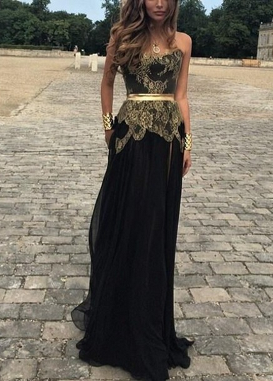 Gold Lace Applique Black Chiffon Prom Dresses Side Slit Golden Belt New  Sexy… e4c69a0f4542