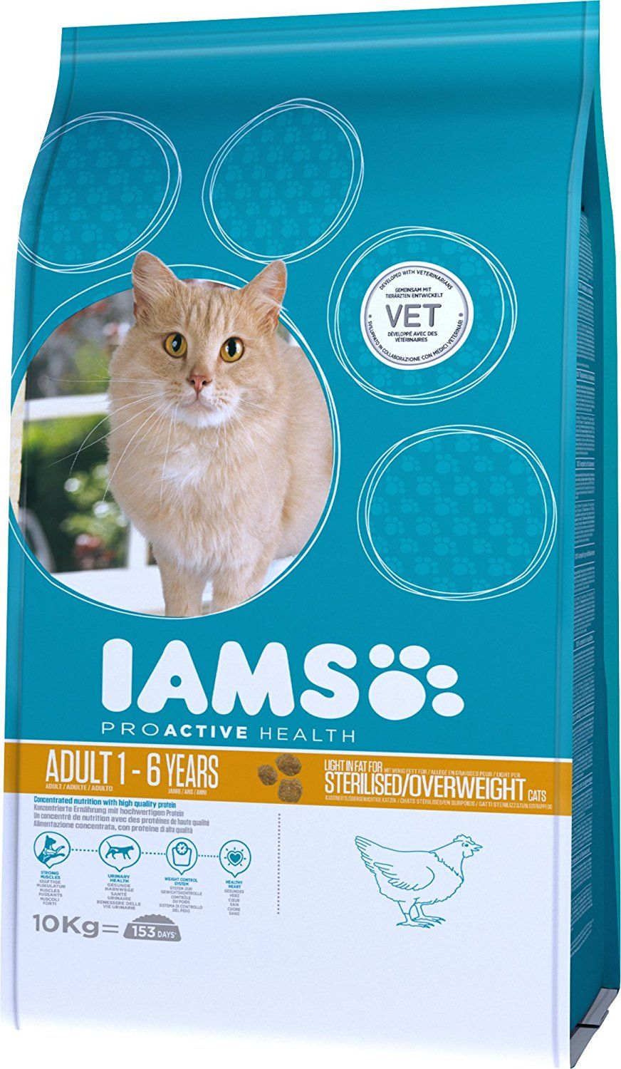 Iams Cat Food Light Sterilized Overweight 10 Kg Cat Food Dry Cat Food Cats