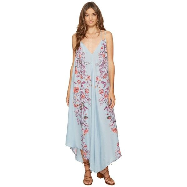 aa1f466de593 Free People Ashbury Printed Slip Dress (Blue Combo) Women's Dress ($128) ❤  liked on Polyvore featuring dresses, cross back dress, floral dresses, free  ...