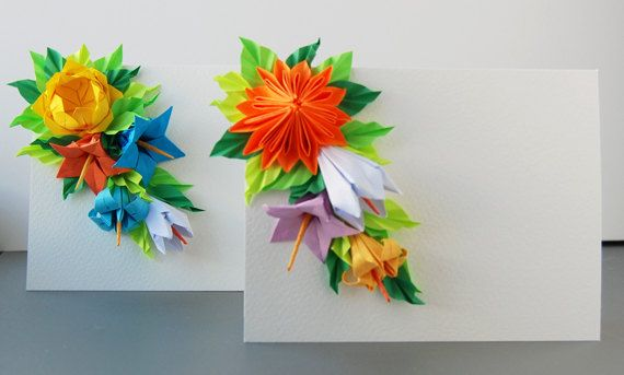 set of 2 origami greeting cards mother's day cards  etsy