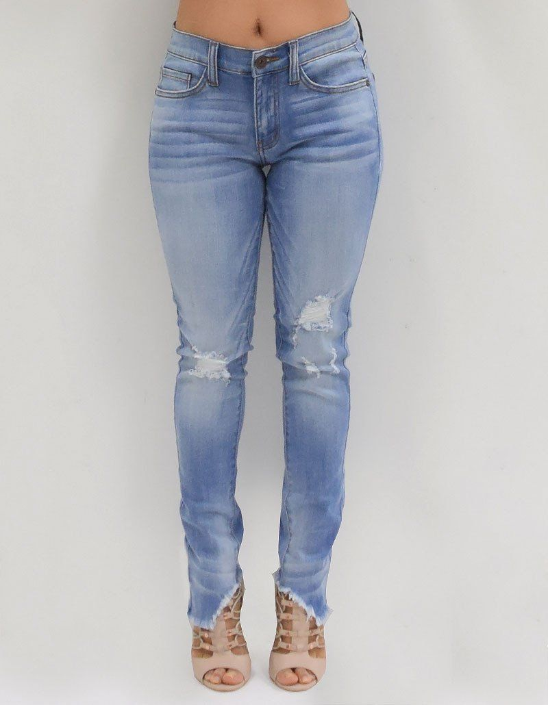9fe7f2092c1 Evelyn  Light Distressed Skinny Ankle Torn Jeans