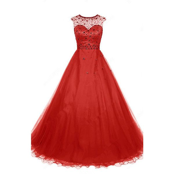 Red A Line Scoop Neck Tulle Floor Length Beading Open Back Long Prom...  (575 RON) ❤ liked on Polyvore featuring dresses, gowns, red dress, long red  dress, ...