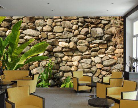 Fotobehang stenen muur uit de natuur deco pinterest wall