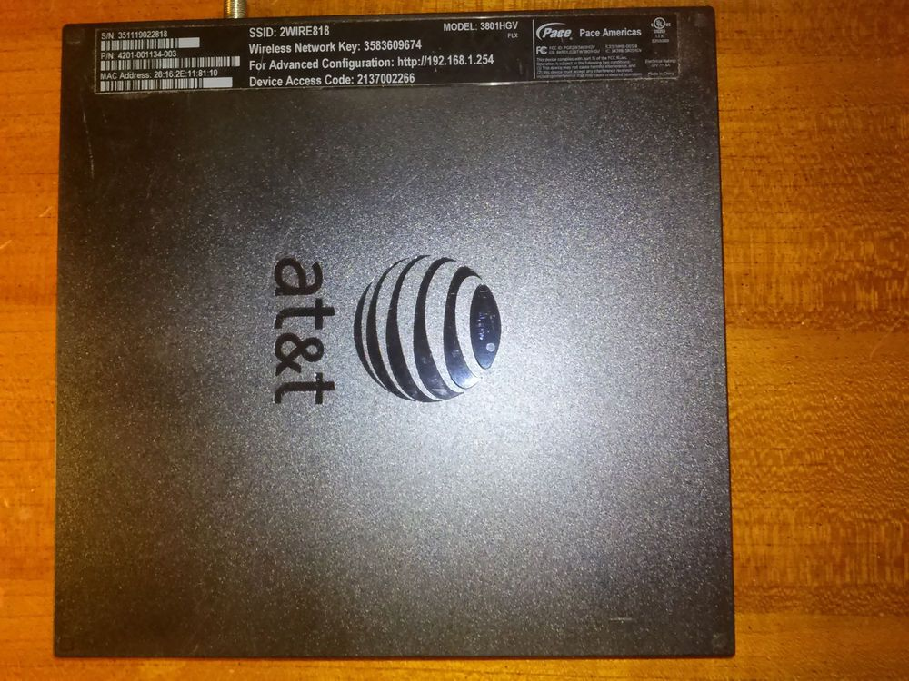 AT&T, U-VERSE, 2WIRE, 3801HGV, 4-PORT 10/100, WIRELESS G ROUTER ...