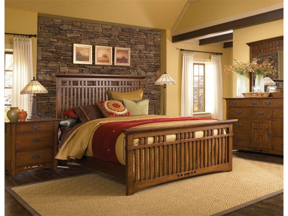 mission/craftsman bedroom nicely done. warm woods, small splashes of