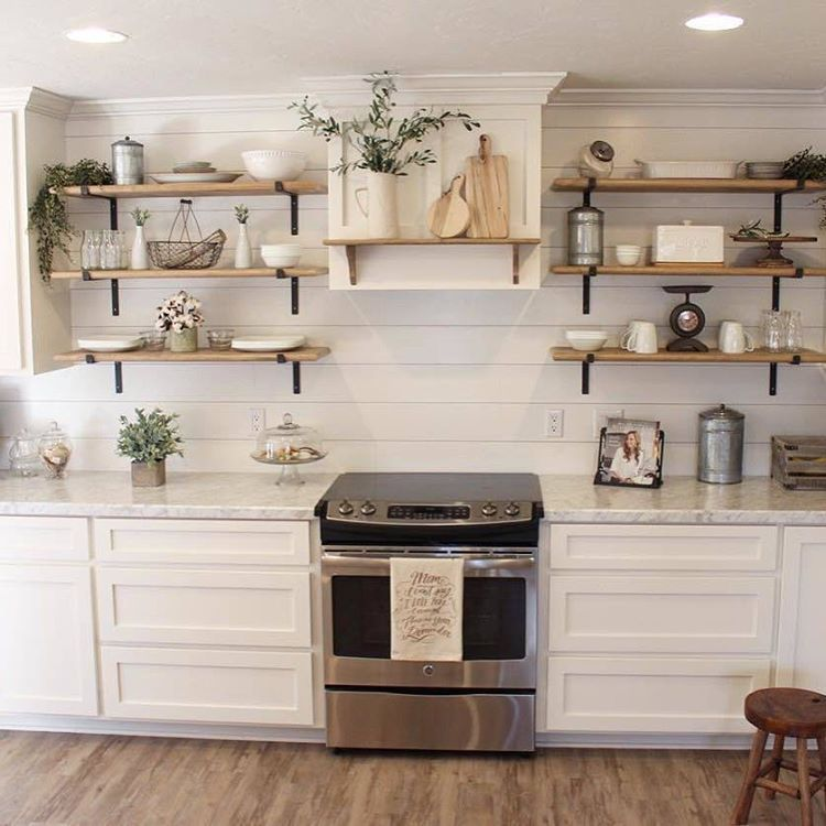 Absolutely gorgeous #kitchen style Stephanie! I Spy AFH products displayed on those shelves!  #homedecor