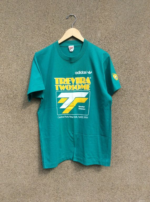 Vintage Adidas Mint Green 90 s Hipster T-shirt Trevira Twosome 420 ... 1284fec3f925