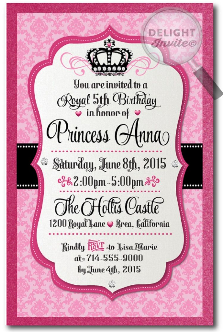 happy birthday invitation card with name di  Princesas