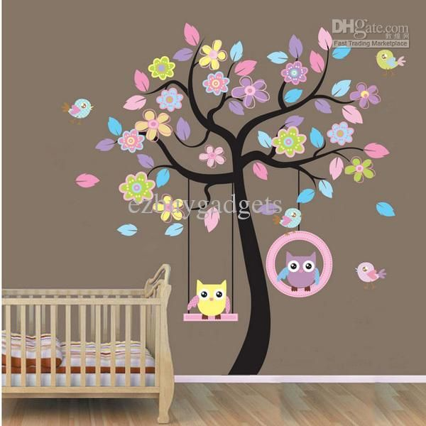 Owl Wall Sticker Vinyl Nursery Kids Wall Decal Tree Wall Art Owls Swing  Under The Tree Decals Baby Girl Wall Art Children Kids Room Decor Part 81