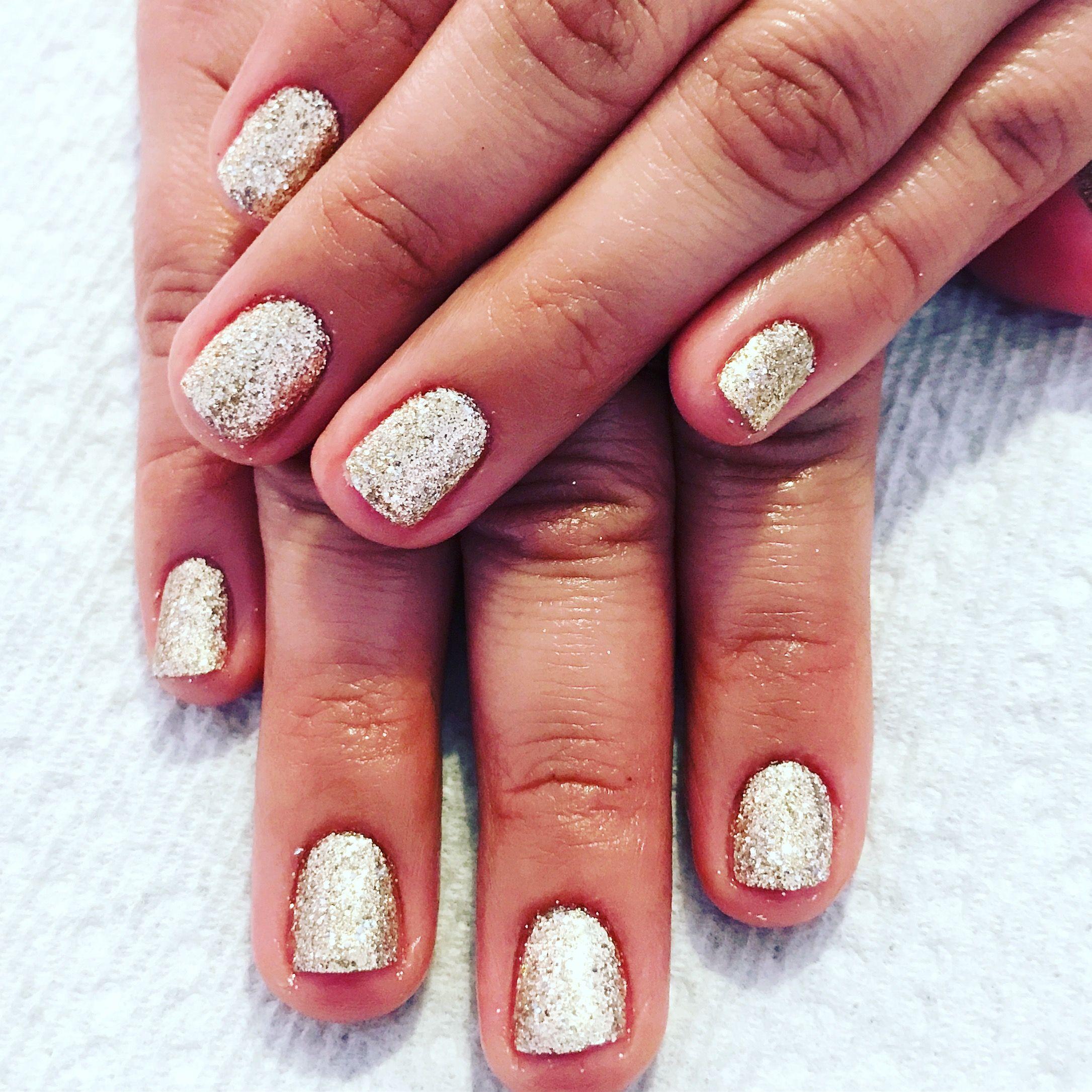 Gel nails. Glitter nails. Rockstar nails. Gold nails. Short nails ...