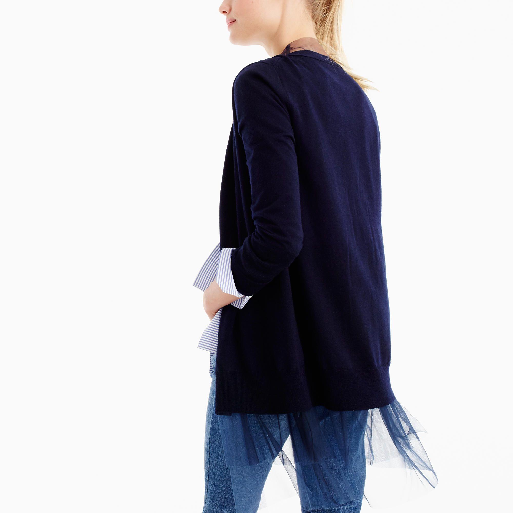 J.Crew Womens Tulle-Hem Cardigan Sweater (Size XS) | Navy ...