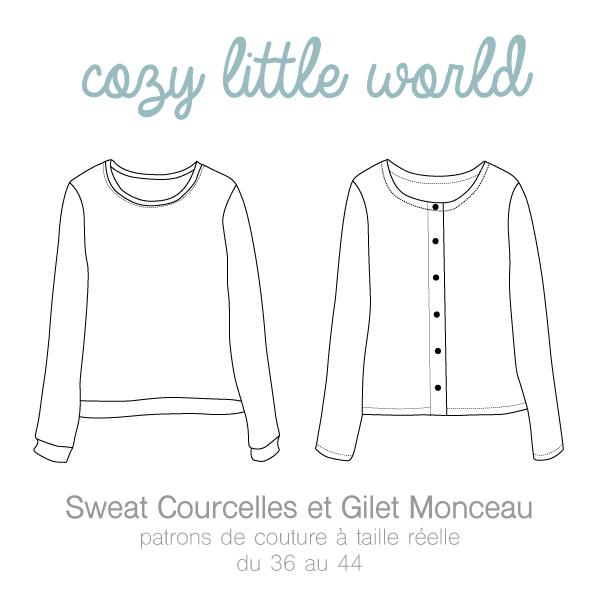 Image of Patron PDF - Gilet Monceau / Sweat Courcelles   couture ...