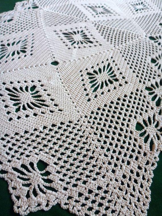 Vintage light beige hand Crocheted table runner table topper tray ...