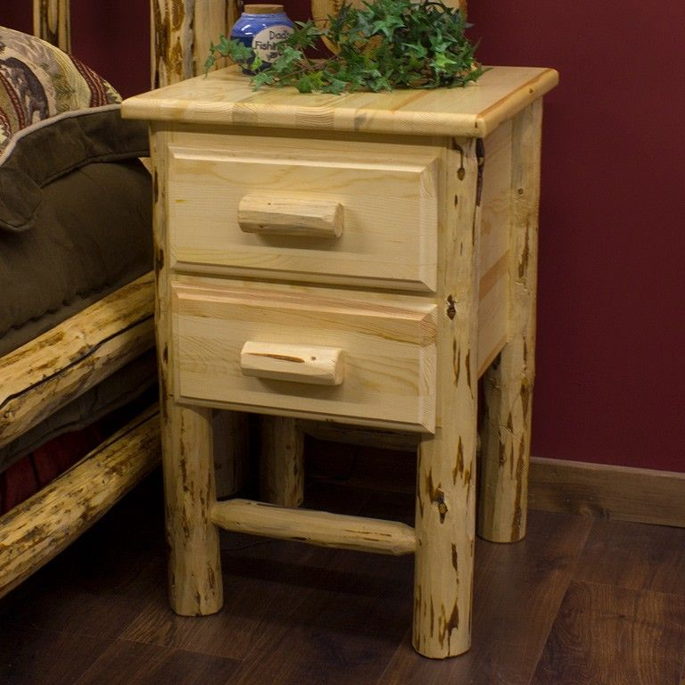 Pine Log Nightstand With 2 Drawers Cabin House Log