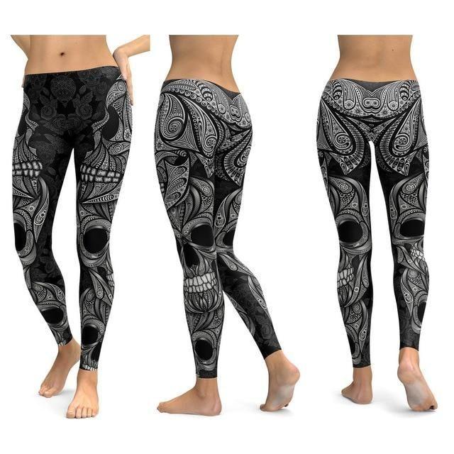 Skull Leggings Yoga Pants Women Sports Pants Fitness Running Push Up Gym Wear Elastic Slim Workout Leggings ORNAMENTAL SKULL S