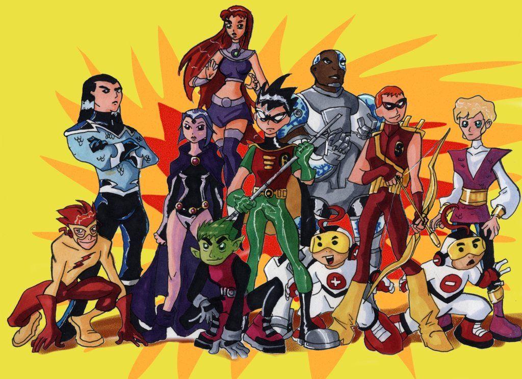 Starfire,Cyborge, Aqua Lad, Ravin, Robin, Speedy, Jericho -4381