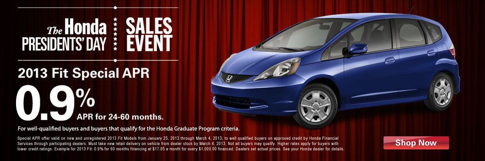 Get great financing deals on a 2013 Honda Fit at Markley