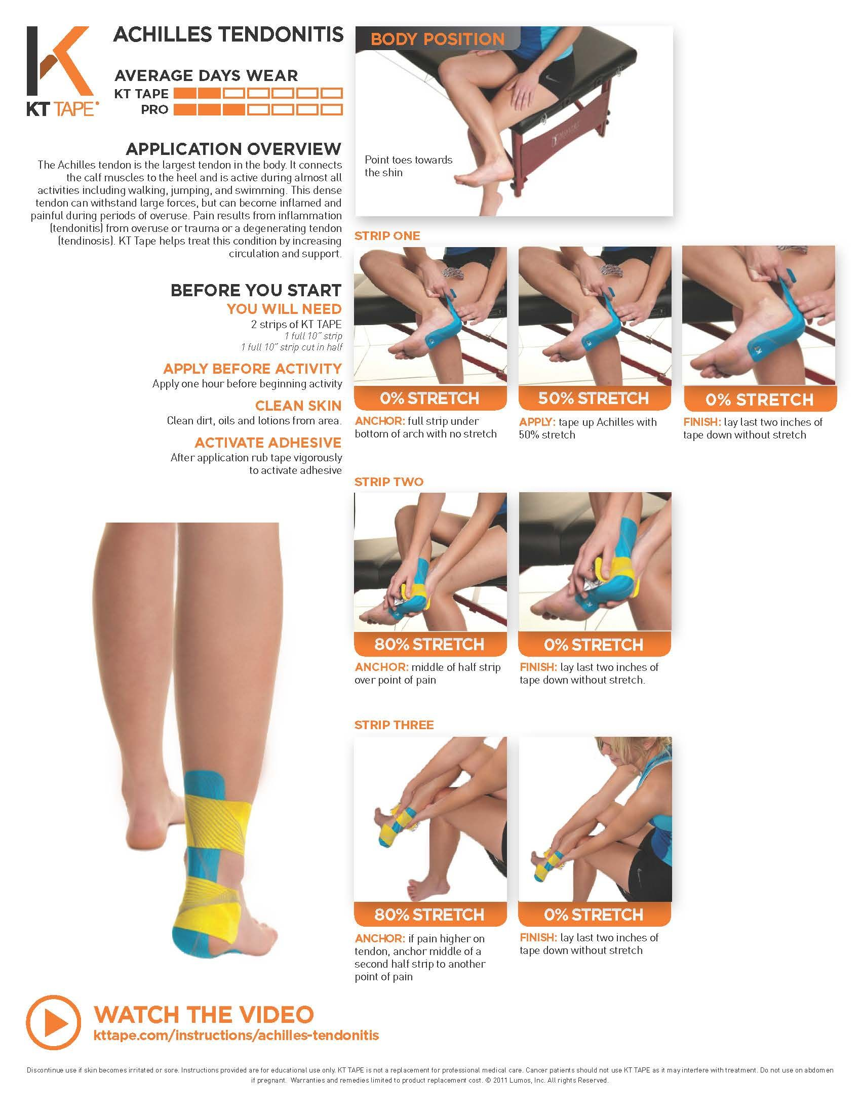 Achilles Tendonitis Taping Kt Tape Helps Treat This Condition By Increasing Circulation And Support Achilles Tendonitis Kinesiology Taping Achilles