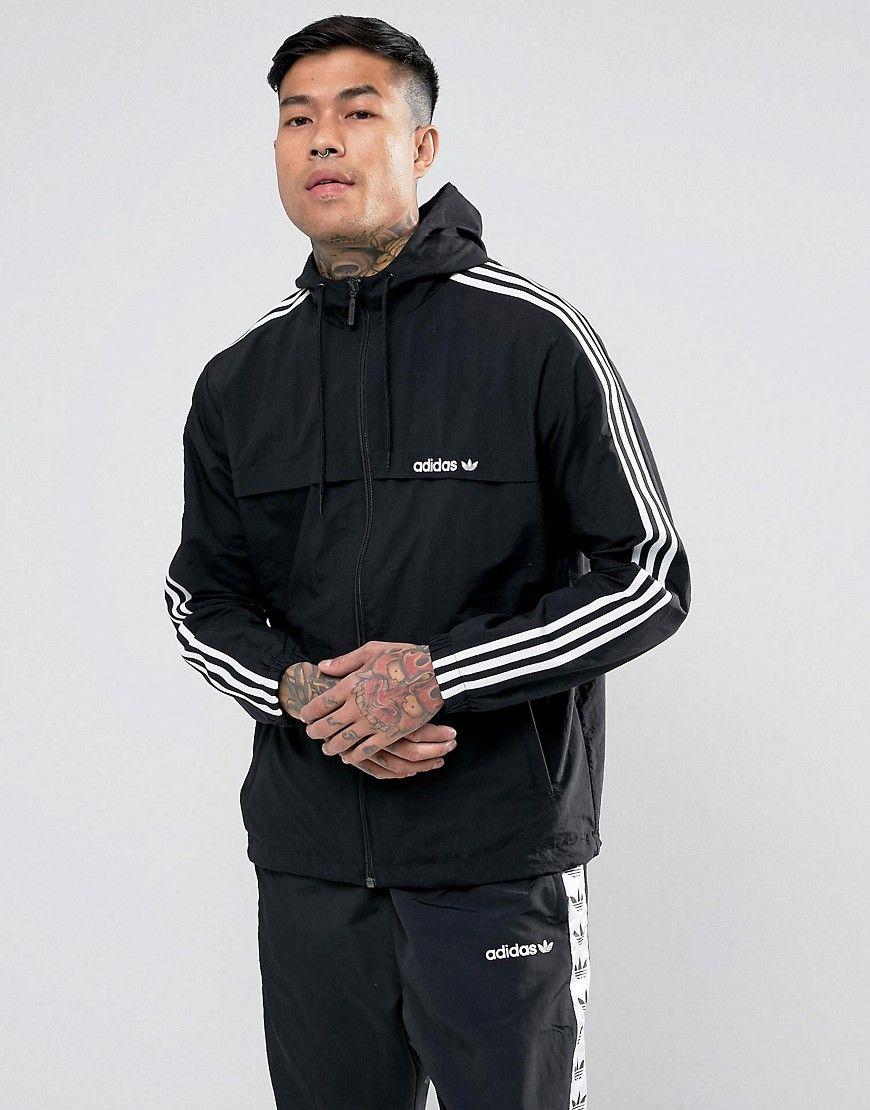 Adidas Originals 3 Stripe Windbreaker In Black Br2153 Black Adidasoriginals Cloth [ 1110 x 870 Pixel ]