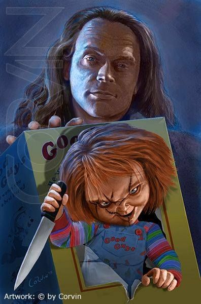 horror movie art child s play 1988 charles lee ray chucky by