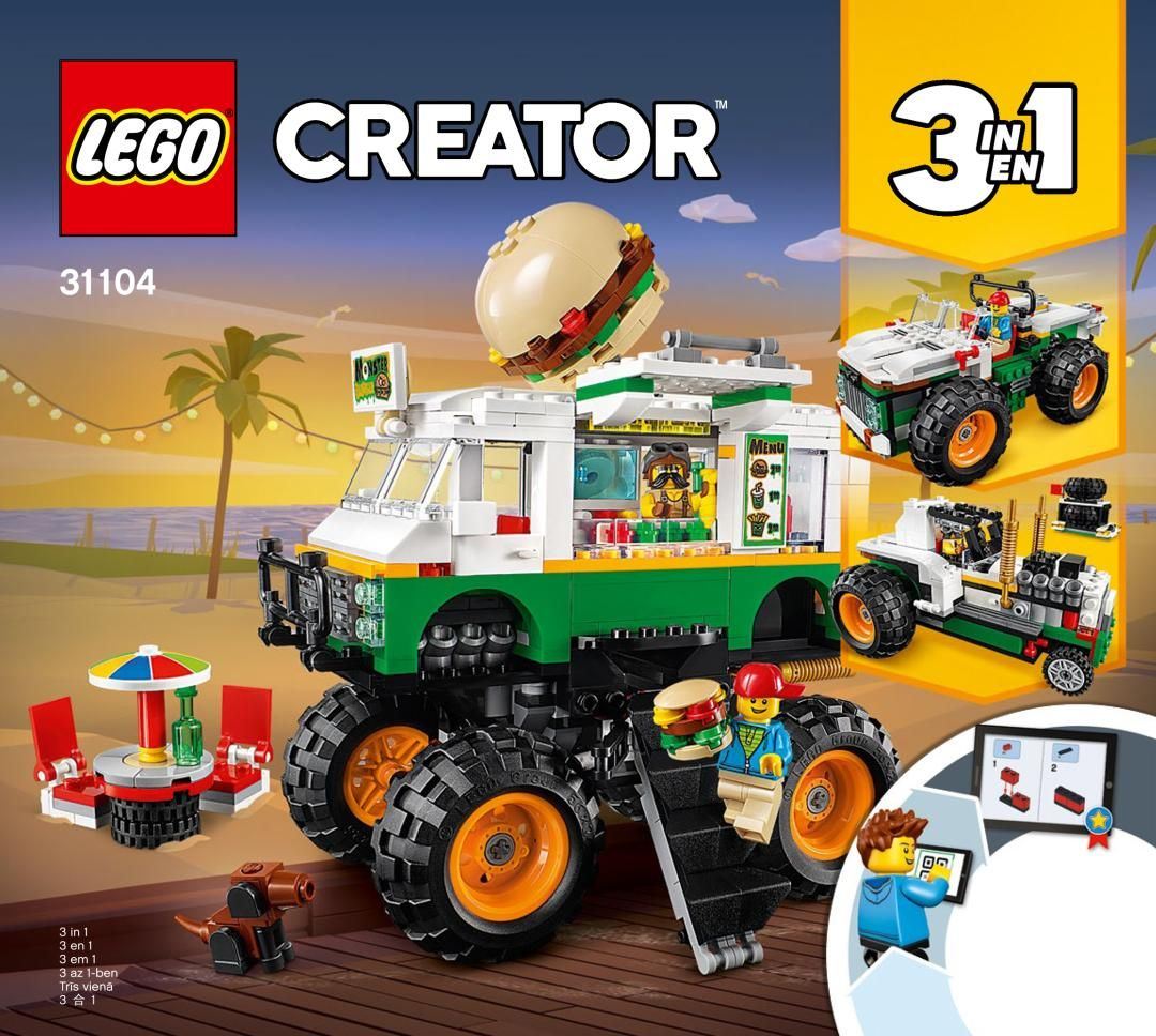 Building Instructions Bauanleitungen Lego 31104 Burger Monster Truck Lego Creator Lego Building Toys