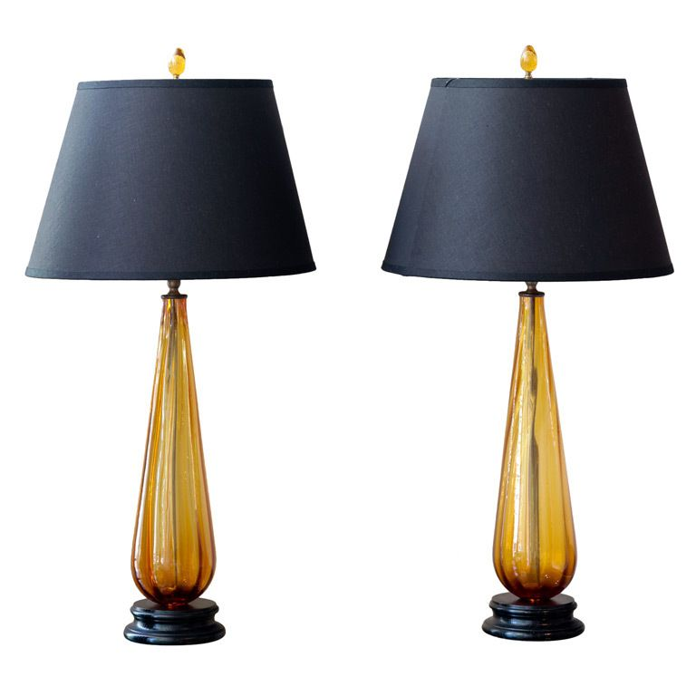 Pair Of Vintage Murano Glass Teardrop Table Lamps Lamp White Glass Chandelier Blue Glass Lamp